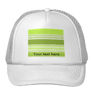 Modern neon green and moss stripes mesh hat