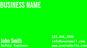 Safety business cards templates zazzle modern neon green safety engineer business card reheart Images