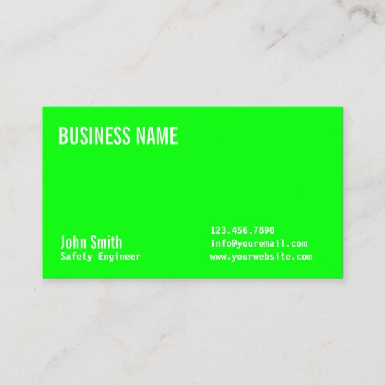 Modern neon green safety engineer business card zazzle modern neon green safety engineer business card reheart Image collections