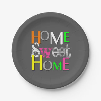 Modern Neon Home Sweet Home - Paper Plate