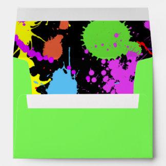 Modern Neon Paint Splatter Envelopes