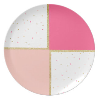 Modern neon pastel pink color block gold stripe plate