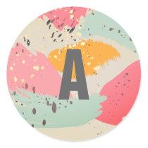 Modern Neon Pink Brush Strokes Monogram Sticker
