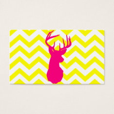 Modern Neon Pink Deer Head Yellow Chevron Pattern Business Card at Zazzle