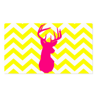 Modern Neon Pink Deer Head Yellow Chevron Pattern Double-Sided Standard Business Cards (Pack Of 100)