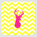 Modern Neon Pink Deer Head Yellow Chevron Pattern Square Stickers