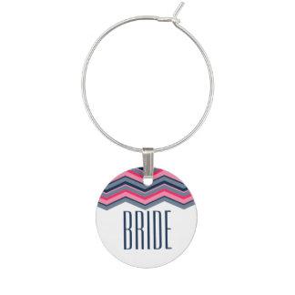 Modern neon pink navy blue chevron bride wine charm