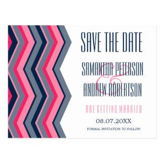 Modern neon pink navy blue chevron save the date postcard