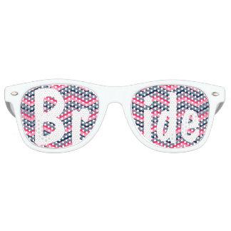 Modern neon pink navy blue chevron wedding Bride Wayfarer Sunglasses
