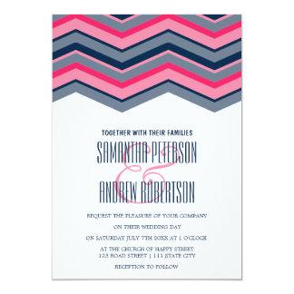 Modern neon pink navy blue chevron Wedding Card