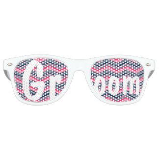 Modern neon pink navy blue chevron wedding Groom Retro Sunglasses