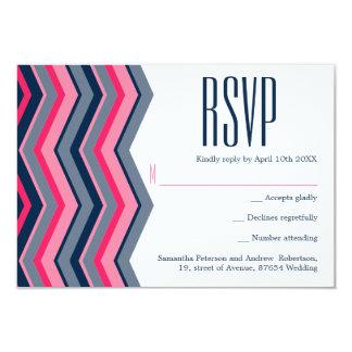 Modern neon pink navy blue chevron wedding RSVP Card