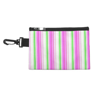 Modern neon pink teal white stripes pattern accessories bag