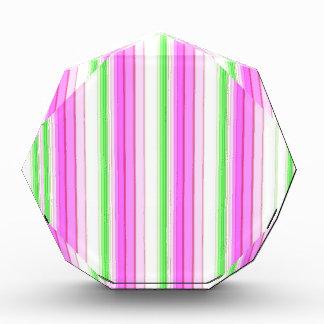 Modern neon pink teal white stripes pattern acrylic award