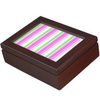 Modern neon pink teal white stripes pattern memory box