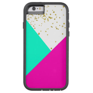 Modern neon pink turquoise color block gold girly tough xtreme iPhone 6 case