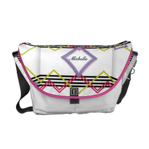 Modern Neon Stripes Messenger Bag