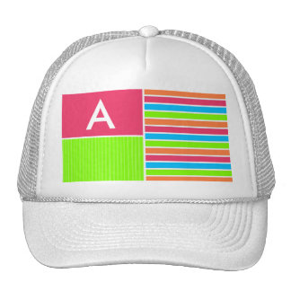 Modern Neon Stripes; Pink Blue Green Trucker Hat