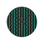 Modern Neon Teal Striped Pattern Round Clock
