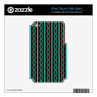 Modern Neon Teal Striped Pattern Skin For iPod Touch 4G