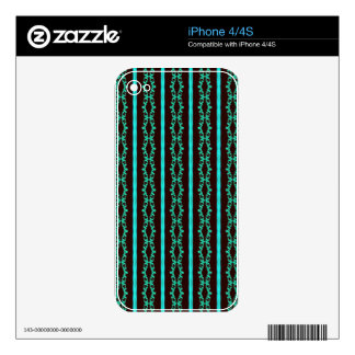 Modern Neon Teal Striped Pattern Skins For iPhone 4