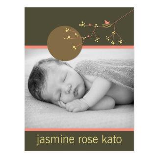 Modern Nesting Bird Family Baby Photo Announcement Postcard