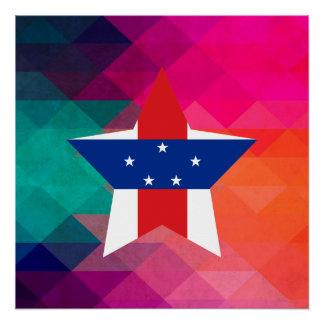 Modern Netherlands Antilles Flag Poster