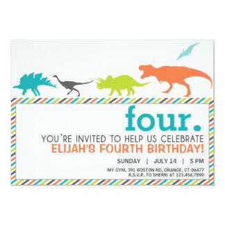 Modern Neutral Dinosaur Silhouette Birthday Invite