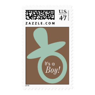 Modern New Baby/Baby Shower Seafoam Pacifier Stamp