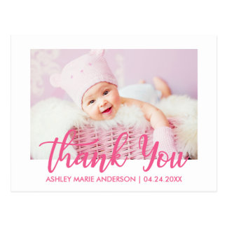 Modern New Baby Thank You Hot Pink Postcard