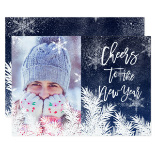 Modern New Year typography snow blue photo Card