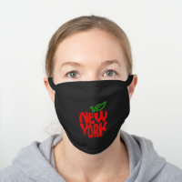 Modern New York Big Apple Black Cotton Face Mask