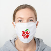 Modern New York Big Apple White Cotton Face Mask