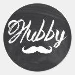 modern newlywed groom Mustache hubby Classic Round Sticker