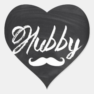 modern newlywed groom Mustache hubby Heart Sticker