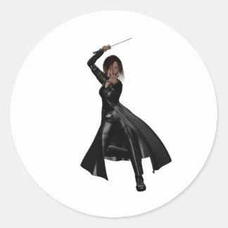 Modern Ninja Round Stickers