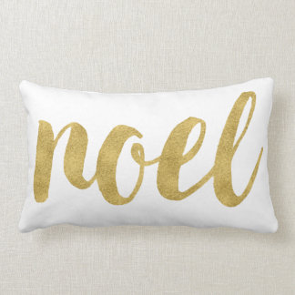 Modern Noel In Gold Festive Holiday Decorative Lumbar Pillow