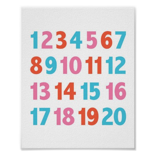 Modern Number Nursery Wall Print