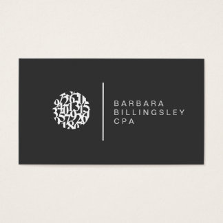 Modern Numbers Logo Accountant Business Card