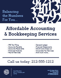 modern numbers logo ii accountant flyer