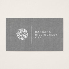 Modern Numbers Logo Linen Accountant Business Card at Zazzle