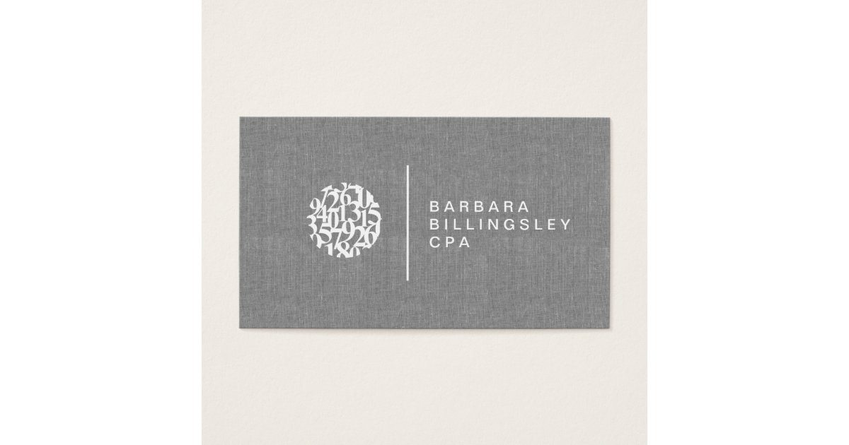 Modern Numbers Logo Linen Accountant Business Card | Zazzle.com