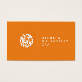 Modern Numbers Logo Orange Accountant Business Card