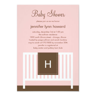 "Modern Nursery Baby Shower Invitation (Pink) 5"" X 7"" Invitation Card"