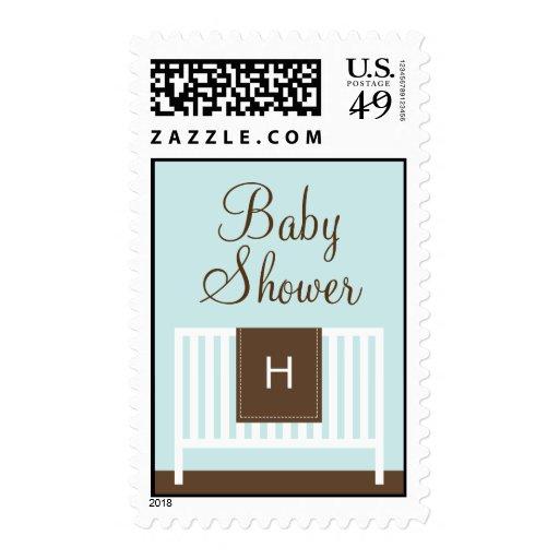 Modern Nursery Baby Shower Postage (Green) Stamps