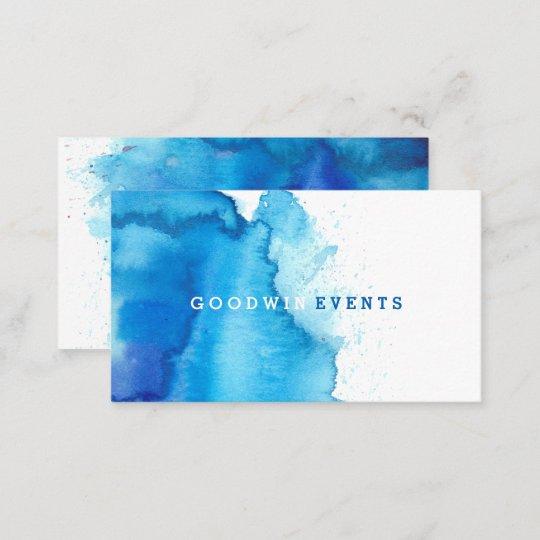 Modern Ocean Beachy Blue Watercolor Business Cards Zazzlecom