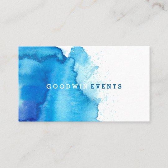 Modern Ocean Beachy Blue Watercolor Business Cards Zazzle