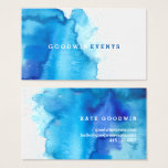 "Modern Ocean Beachy Blue Watercolor Business Cards<br><div class=""desc"">This modern business card design features a beautiful blue watercolor background with a white background and simple modern typography. The reverse side features more blue watercolor background and contact info in white text. It has a hip, modern look and would make a fabulous first impression for your business. The rounded...</div>"