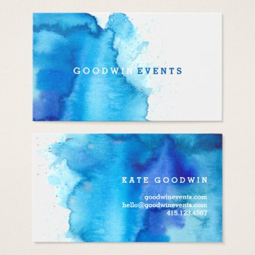 PaperDahlia Modern Ocean Beachy Blue Watercolor Business Cards