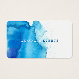 Modern Ocean Beachy Blue Watercolor Business Cards